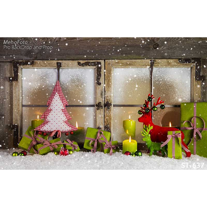 Horizontal vinyl print snow Christmas decoration window photography backdrop for photo studio portrait backgrounds