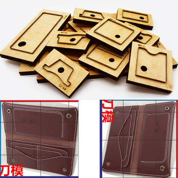 DIY leather craft folded wallet vintage card holder coin bag die cutting knife mould hand punch tool pattern 190x90mm