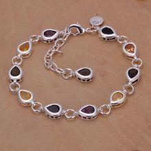Wholesale for women/men's silver plated bracelet 925 fashion Silver jewelry charm bracelet colorful rhinestone Bracelet SB260