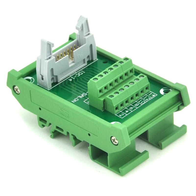 IDC-14 DIN Rail Mounted Interface Module, Breakout Board, Terminal Block. idc 50 din rail mounted interface module