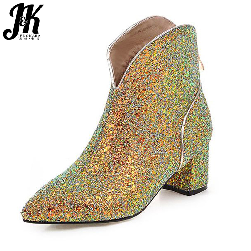 Big Size 32-43 glitter Ankle Boots Fashion Shoes Woman High Quality Pointed Toe Thick Heel Women Shoes Add Fur Fall Winter Boots wetkiss big size 34 43 fashion lace up platform knee boots add fur retro thick high heels skid proof fall winter shoes woman