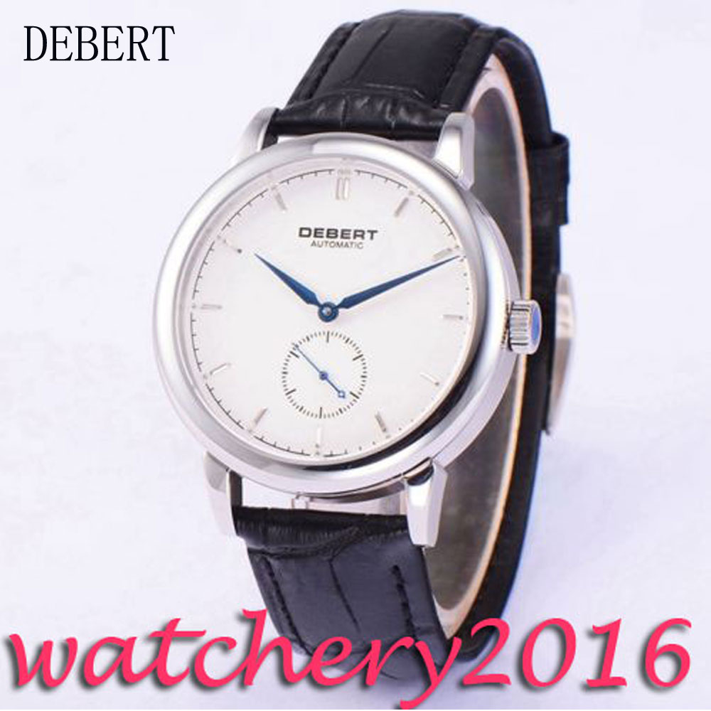 Simple 40mm Debert white dial blue hands black leather strap mineral crystal Automatic movement men's Watch коньки onlitop 223f 37 40 blue 806164