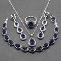 Gota de agua Azul Cubic Zirconia 4 UNIDS Mujeres Sistemas de La Joyería Elegante 925 Pendiente de Plata Colgante de Collar Pulsera Anillo JS51