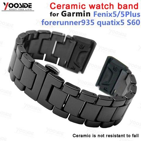 Fivela para Garmin Pulseira de Relógio Yooside Borboleta Cerâmica Fenix 5 – Plus Forerunner 935 Quatix Abordagem S60 Ajuste Rápido 22mm