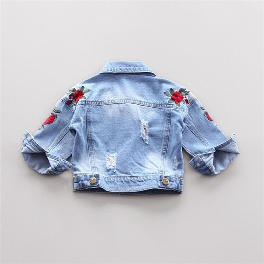 Baby Outerwear Coat Girl Jeans Jacket Spring Embroidery Flower Kids Denim Coat Toddler Girls Cardigan Children Outwear Coats