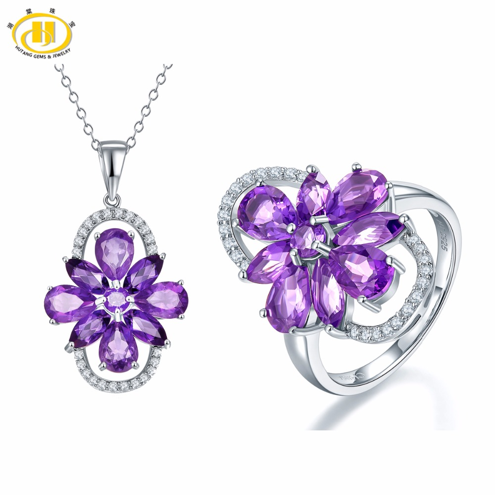 Hutang Stone Jewelry Sets Natural Gemstone African Amethyst Flower Ring & Pendant Fine Fashion Jewelry For Womens Gift NewHutang Stone Jewelry Sets Natural Gemstone African Amethyst Flower Ring & Pendant Fine Fashion Jewelry For Womens Gift New