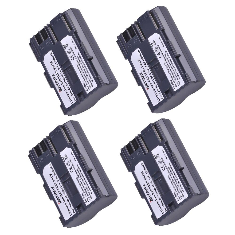 4 pcs 1800 mah BP-511 BP511 BP 511 BP-511A Batteries pour Canon G6 G5 G3 G2 G1 EOS 300D 50D 40D 30D 20D 5D MV300i Appareil Photo Numérique