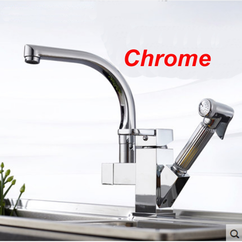 Hot Sale Kitchen Faucet Chrome Finish Deck Mounted With Pull Out Sprayer