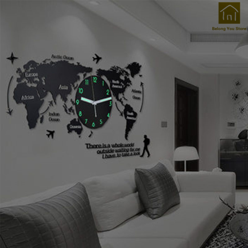 Acrylic Quartz Watch Wall Clock Living Room Diy 3D Self Adhesive Decal Wall  Clock Sticker Horloge Mural Modern Clocks WKP186
