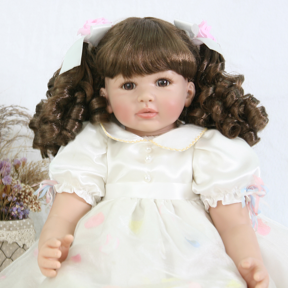 Adorable Long Curly Hair Vinyl Silicone Reborn Toddler Baby Princess Girl Doll Toys for Girls Education House Play Birthday Gift adorable curly brown hair vinyl silicone reborn toddler princess girl baby alive doll toys with soft cloth body birthday gifts