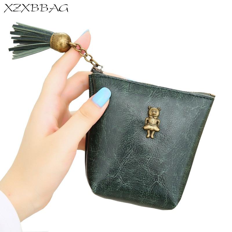 XZXBBAG Female Cute Bear Tassel Zipper Mini Coin Purses Girl Small Wallet Students Change Purse Key Chain Money Bag Zero Walle