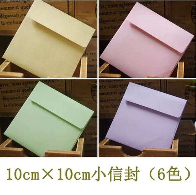 Free Shipping 1Lot=100piece 10cm Square Small Paper Envelopes Small Cards / Invitations / Membership Card Holding 6 Colors