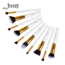 Jessup 10pcs White/Gold Synthetic Hair Wooden Handle Kabuki Foundation Powder Blusher Blending Make up Brush Set T065