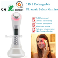 Newest Home Use 3MHZ Ultrasonic Galvanic Photon Wrinkle Removal Microcurrent Ion Facial Massager