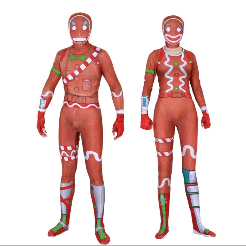 Men Women Kids Halloween Game Battle Royal Merry Marauder Ginger Gunner Cosplay Costume Zentai Jumpsuits Bodysuit Suit