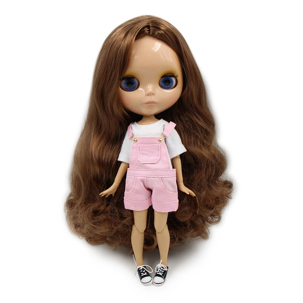 Blyth 1 6 Joint Body Nude Doll 30cm brown curly Hair Tan Skin no bangs with
