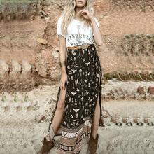 Горячий длиной макси Юбки для женщин для Для женщин Марка чешские Мода г. Лето льда шелка сексуальный разрез печати черный и синий Bodycon пляж юбка