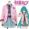Vocaloid Miku Project DIVA F Cosplay Costume Girls School Uniform Women Pink Hooded Jacket Grey Shirt