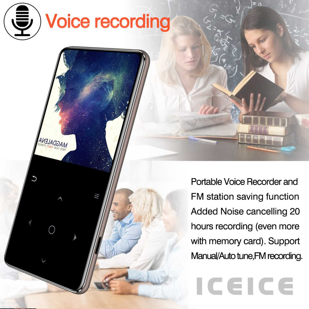ICEICE MP4 odtwarzacz multimedialny Bluetooth głośnik MP3 MP4 odtwarzacz muzyczny przenośny MP 4 Slim 2.4 ekran klawisze dotykowe FM wideo radia Hifi
