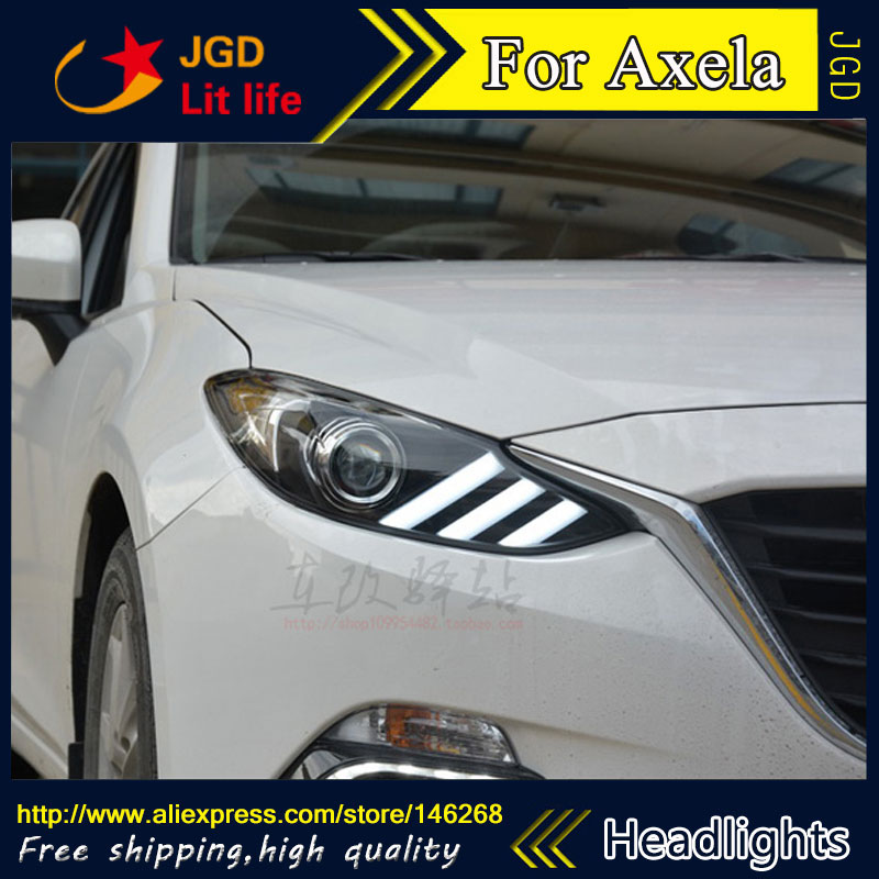 Free shipping ! Car styling LED HID Rio LED headlights Head Lamp case for Mazda Mazda3 Axela 2014 2015 Bi-Xenon Lens low beam for mazda 3 axela 2013 2015 year led headlight head lamp with bi xenon projector lens front light ld