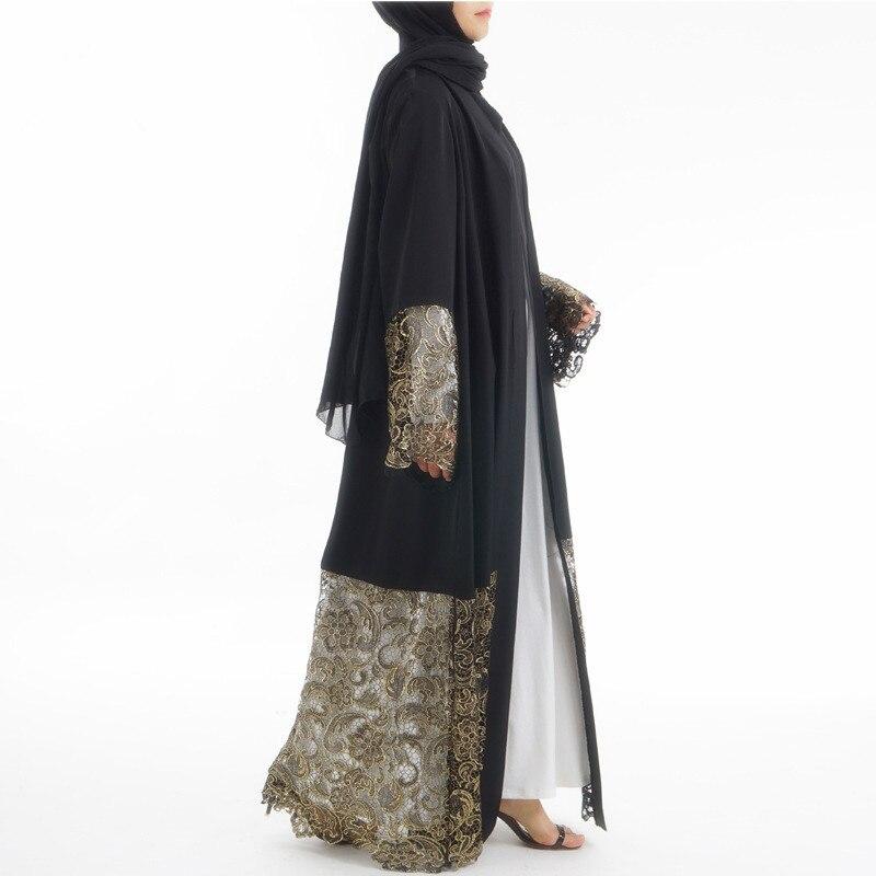 Fashion lace hollow out Dubai Muslim black Abaya kaftan