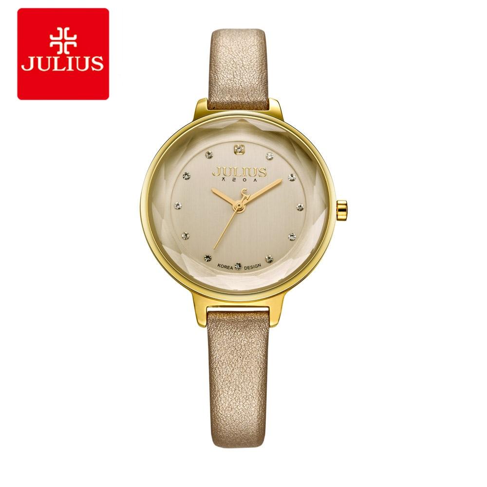 JULIUS Watches Women Fashion Watch 2018 New Elegant Blue Dress Leather Strap Ultra Slim 8mm Quartz Movt Wrist Round Watch D1 цена