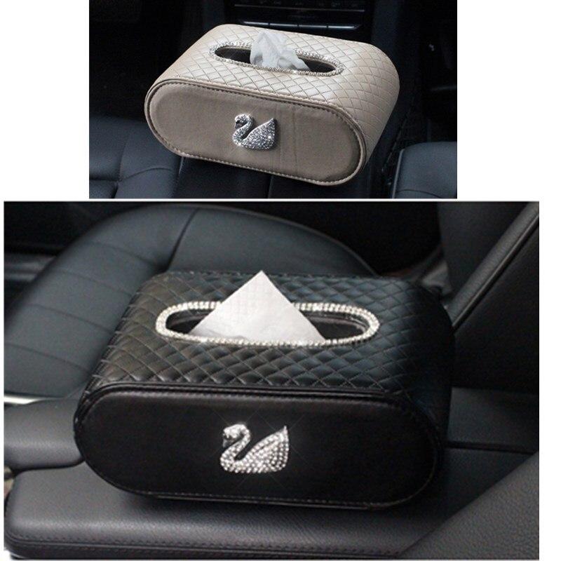 Women Diamonds Swan block Vehicle Tissue box luxury car accessories , to Shine your car UP, Swan Seires