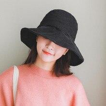 BINGYUANHAOXUAN 2018 Summer Solid Floor Chic Corduroy Bucket Hat with Bowknot Women Vintage Street Fisherman Harajuku Hats