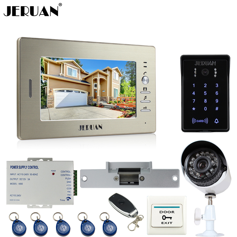 JERUAN perfect 7``video door phone intercom System monitor waterproof Touch Key password keypad Camera+700TVL Analog Camera jeruan home wired 7 inch touch key video doorphone intercom system 2 monitor 700tvl waterproof touch key password keypad camera