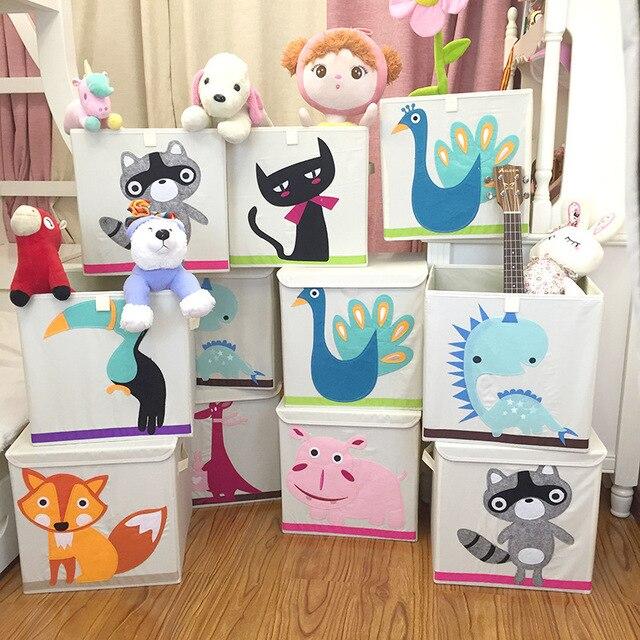 Мультфильм ткань ящики для хранения площади анимированные корзины складные одежда Детская игрушка коробка для хранения с крышкой цветные игрушки организатор