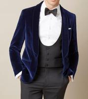 Black Double Breasted Velvet Tuxedos British style Custom Made Mens Suit Slim Fit Blazer Wedding suits for men(suit+pant)