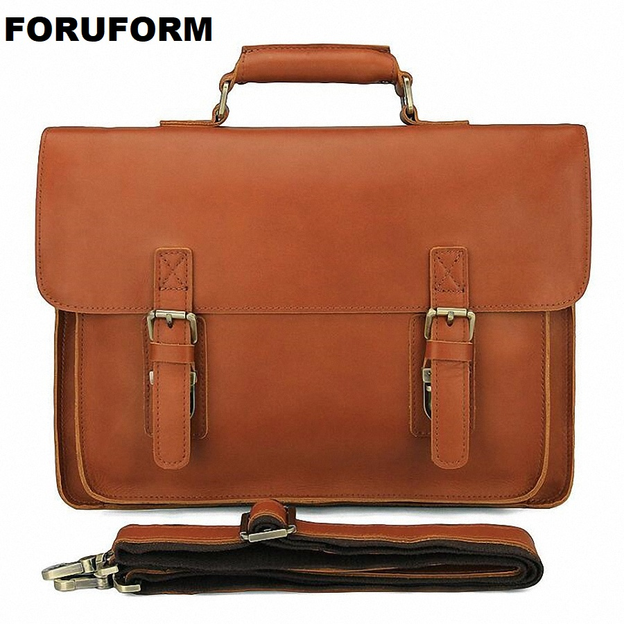 Men's Genuine Leather Briefcase 14 Inch Big Real Leather Laptop Tote Bag Cow Leather Business Bag Brown Messenger Bag LI-2270
