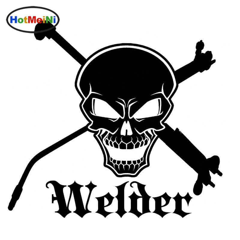 HotMeiNi Skull And Cross Tools Welder Vinyl Welding Weld Car Motorcycle Car Accessories Car Sticker Black Sliver 16CM*14.8CM