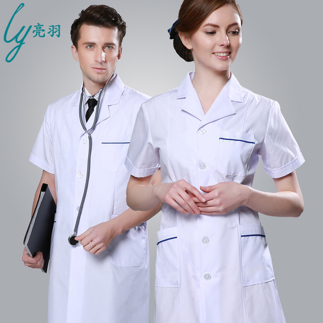Doctor White Coat Short Sleeved Summer Coat Nurse Dentist Dress Lab ...