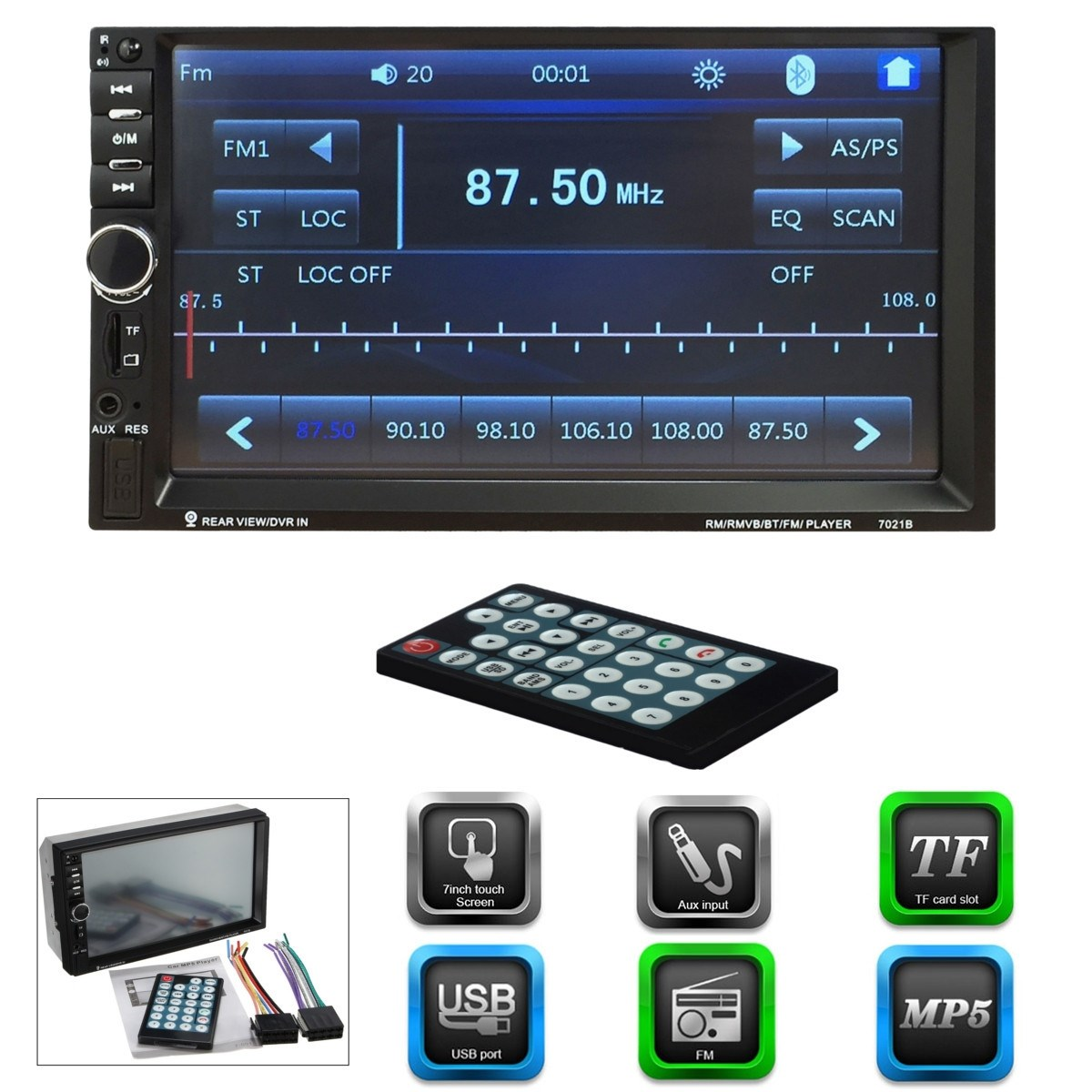 ФОТО 2 Din Car Video Player 7 Inch HD Touch Screen Bluetooth Radio Audio Stereo MP5 Player Support AUX FM USB MMC Remote Control