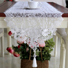 luxury embroidered white lace table runner for wedding accessories tassel pendant table runner dining coffee table decoration