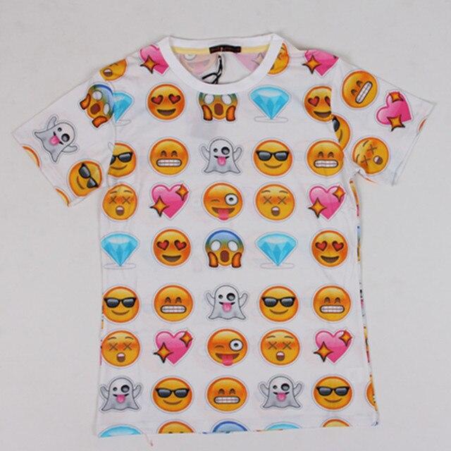 ホットファッション絵文字tシャツホットスタイル絵文字tシャツ夏面白い服ユニセックス女性