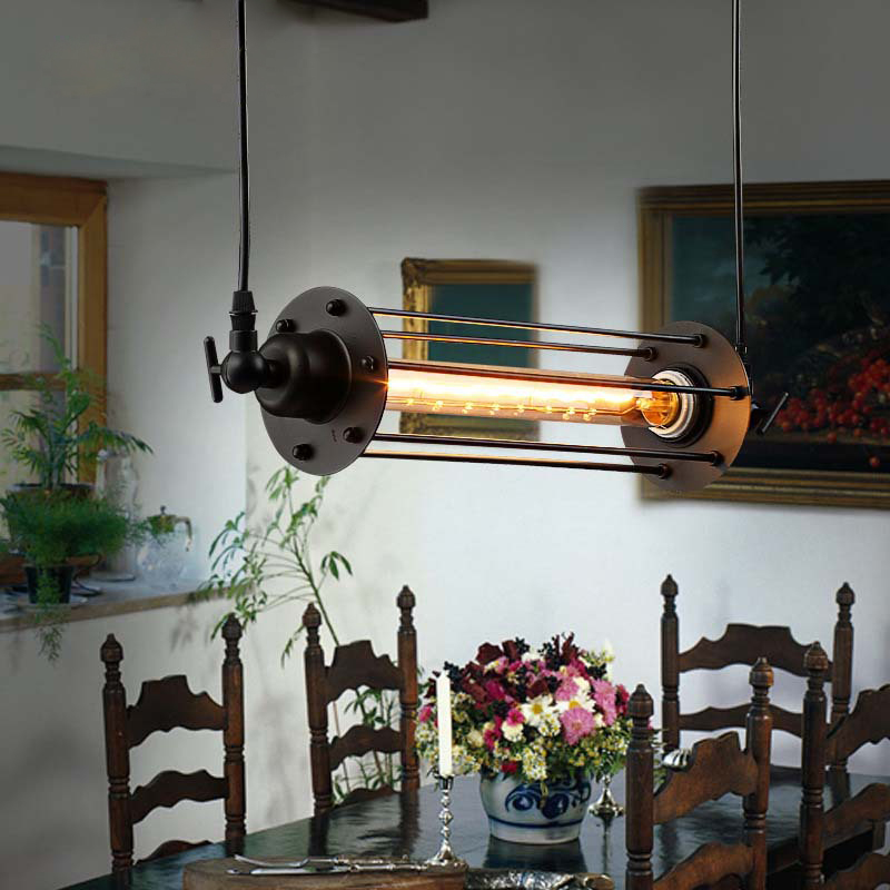 Edison Vintage Pendant Lamp Loft Wrought Iron Lights Dining Room Retro Flute Hanging Lighting