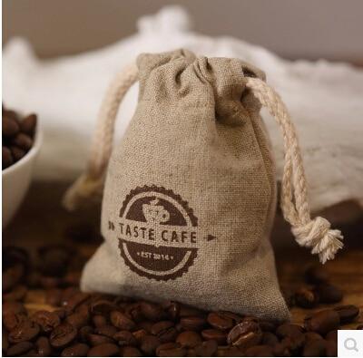 010 Customise Jute Coffee Bean Bag Drawstring Logo Printed