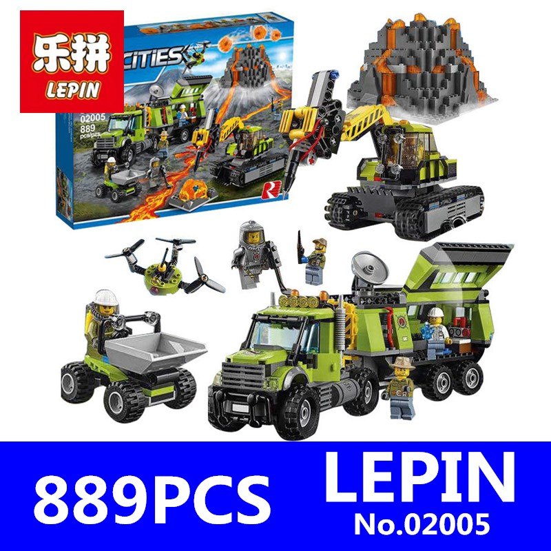 Compatible City LEPIN 02005 889Pcs The Volcano Exploration Base 02005 Building Blocks Policeman Educational Toys For Children 1712 city swat series military fighter policeman building bricks compatible lepin city toys for children