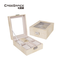 New Serpentine Watch Box PU Leather Women Jewelry Storage Bins Rectangle Texture Glass Cover Visible Jewelry Watch Storage Boxes