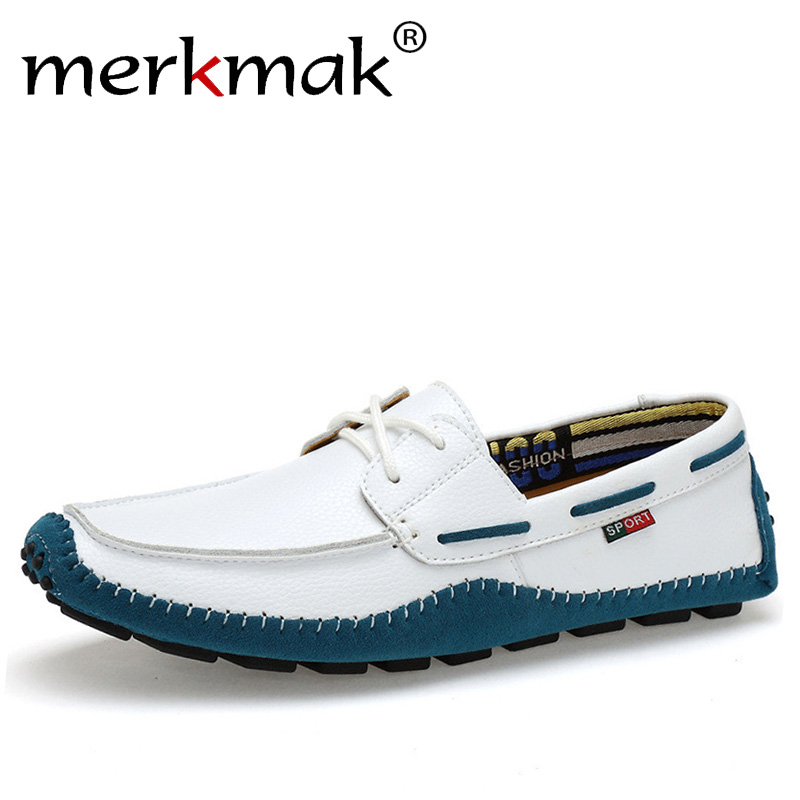 Merkmak Italian Genuine Leather Man Loafers Designer Slip On Driving Shoes Men High Quality Luxury Brand Soft Flats Large Size