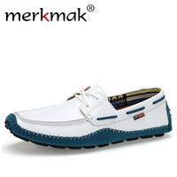 Merkmak Italian Genuine Leather Man Loafers Designer Slip On Driving Shoes Men High Quality Luxury Brand