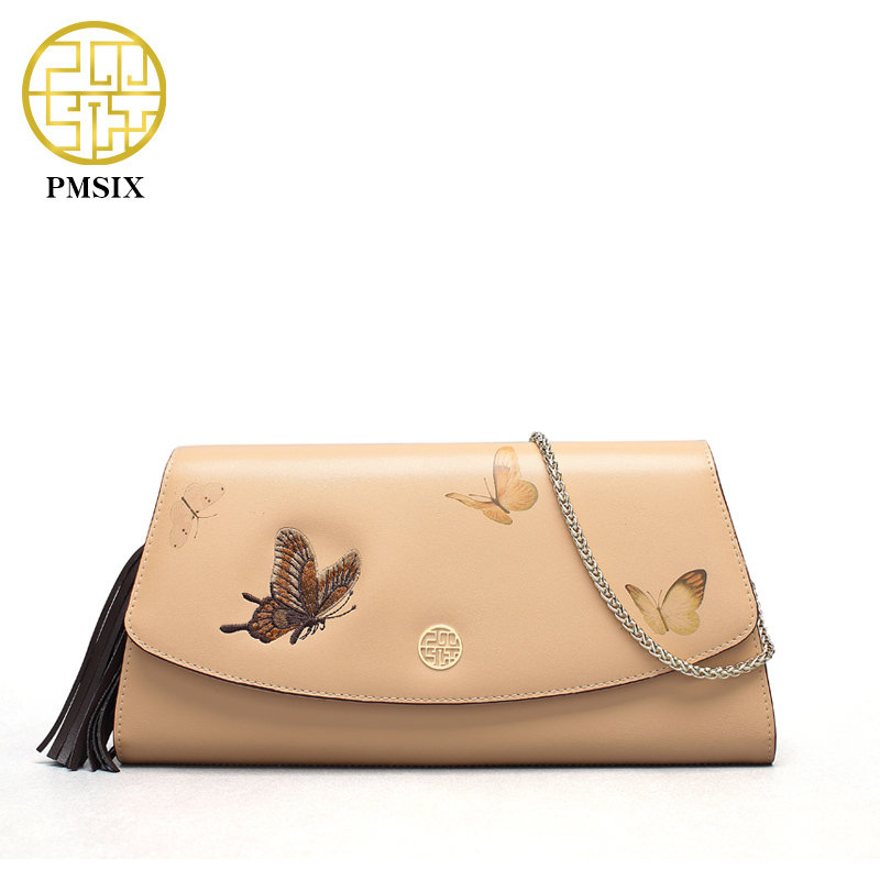 ФОТО Pmsix 2017 Spring Summer New Fashion Chain Shoulder Bag Butterfly Embroidery Apricot Brand Designer Leather Handbag P520018