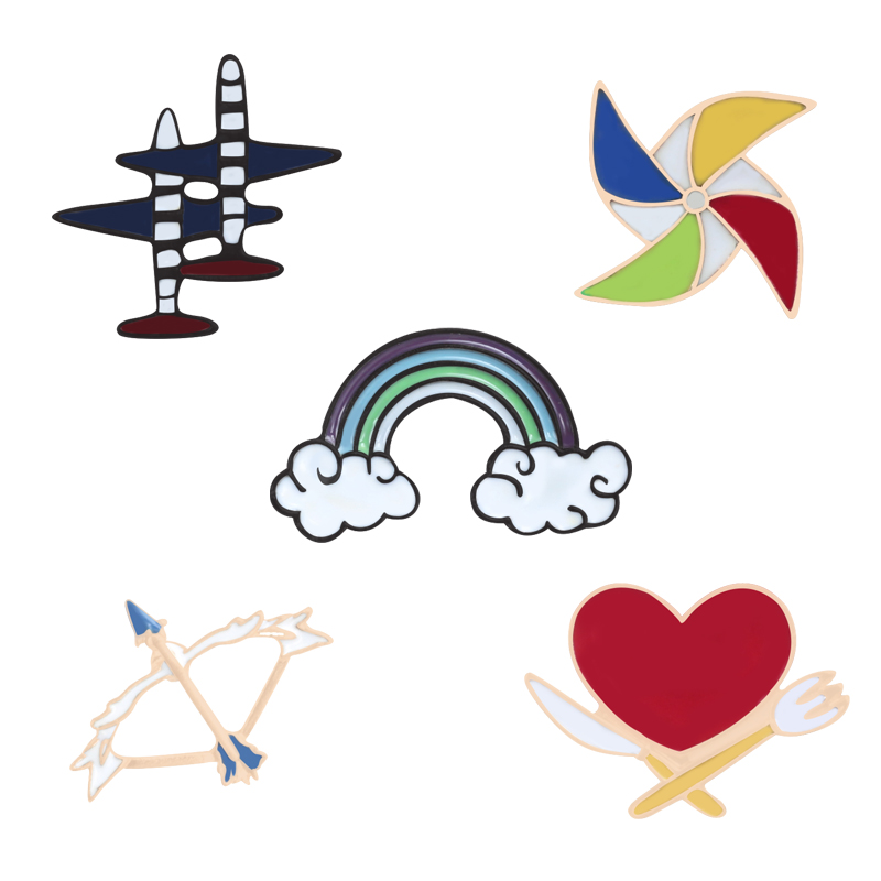 Fashion 5 Styles Pins Brooch Windmill Airplane Rainbow Heart Enamel Pin Badge Hat Backpack Shirt Accessories Men Women Jewelry image