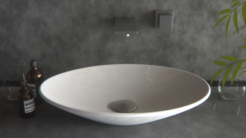 New Super Slim Oval Bowl Counter Top Bathroom Ceramic Art