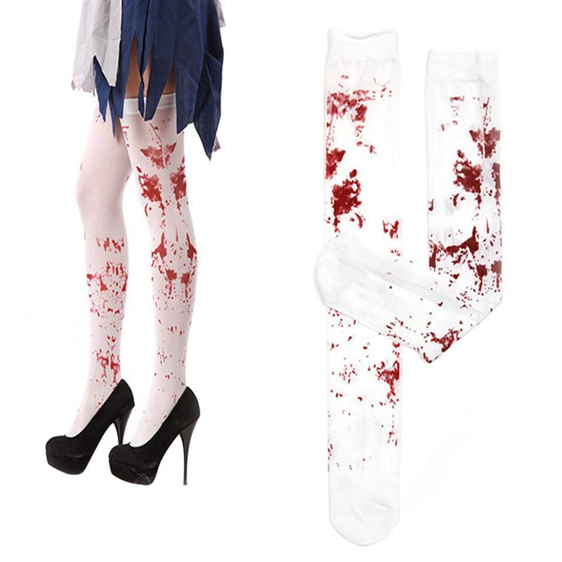 2pcsset 70cm women blood stained white knee high stockings for halloween cosplay costume party - Price Of Halloween Horror Nights