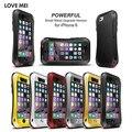 Original amor mei vida waterproof metal case para iphone 4 4s 5 5s se 6 6 s/6 6 s Plus Capa Casos De Alumínio Com Vidro Temperado
