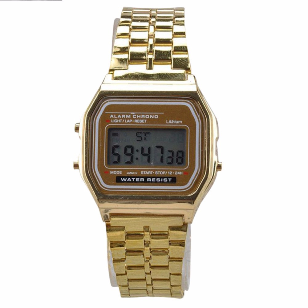 Relogio Masculino Vintage Watch Electronic Digital Digital Display Retro Style Watch ოქროს ვერცხლისფერი საათები Relojes Para Hombres