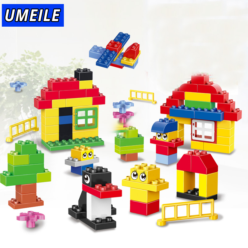 UMEILE Brand 100PCS Assembied Large Building Block Classic Original Brick Set Baby Toys Compatible with Duplo Christmas Gift